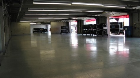 An empty garage at The Napa Auto Parts 200 presented by Dodge