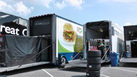 Burgers on the side of a truck at The Napa Auto Parts 200 presented by Dodge
