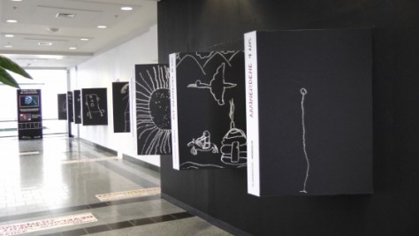 Some more drawings by children on the top floor of the Eaton Centre.