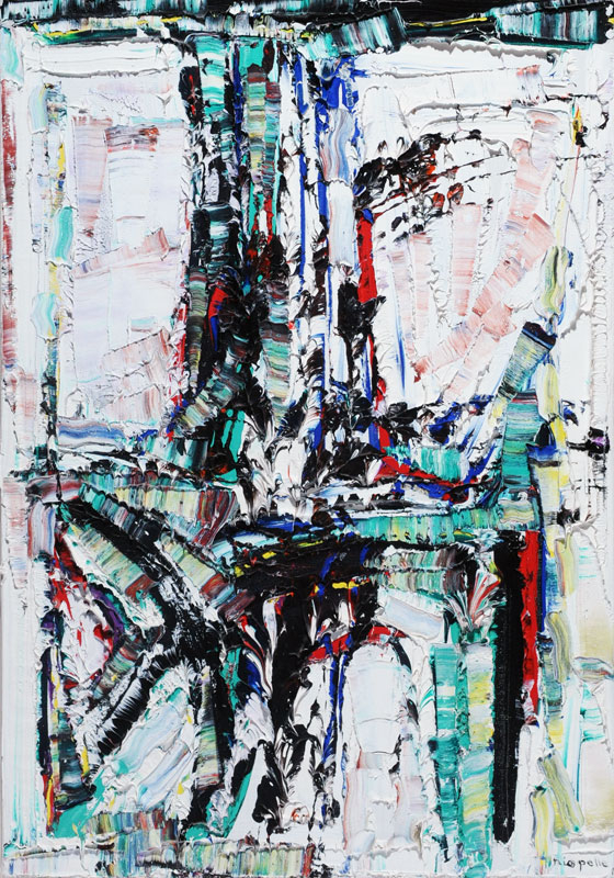 """Il a neigé sur Opinaca by Jean Paul Riopelle. Oil on canvas, 1967 36"""" x 26"""" image courtesy Iegor."""