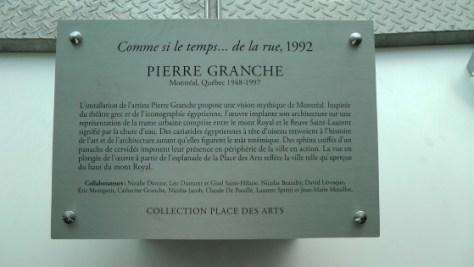The plaque for Comme si le temps... de la rue by Pierre Granche
