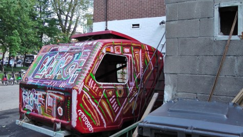 The third side of a hippy-dippy trailer that was parked beside Square Saint Louis.
