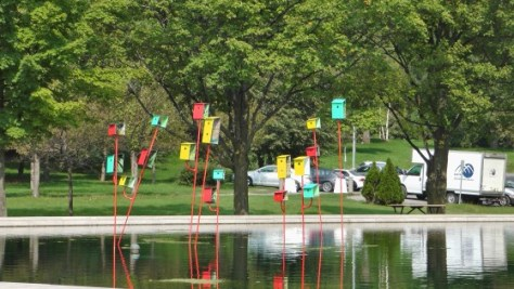 Bird Houses on the pond in front of the Biosphere.