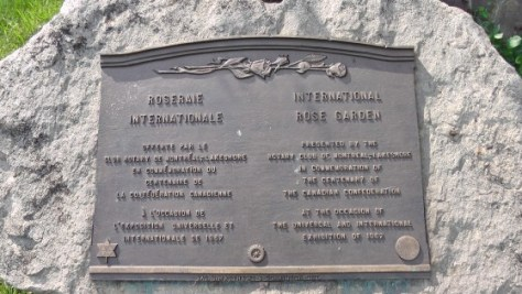 The plaque explaining The Rose Garden at Hélène de Champlain