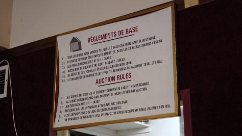 The Auction Rules at Patrick Blaizel's La Maison des Encans de Montréal