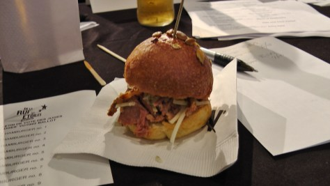 From Le St-Urbain: An Osso bucco burger. Braised veal shank burger on a smoked duck fat and pecorino bun