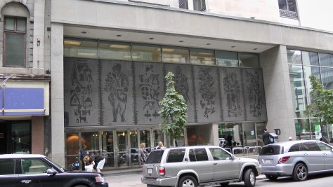 View of the relief on 500 Saint Jacques, Montreal