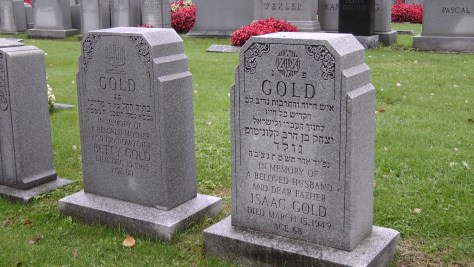 Betty and Isaac Gold's monuments at The Baron de Hirsch Cemetery