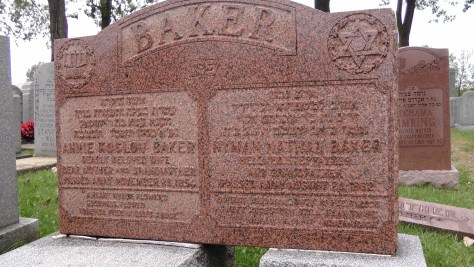 The Baker's monument at The Baron de Hirsch Cemetery