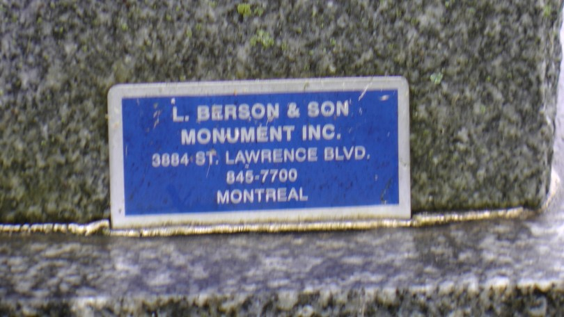 An advertisement for a monument maker at The Baron de Hirsch Cemetery