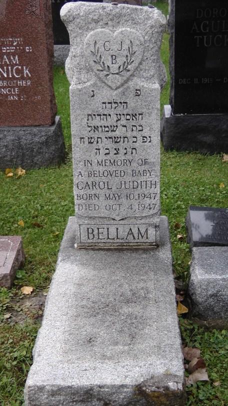 Carol Judith Bellam's monument at The Baron de Hirsch Cemetery