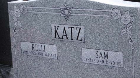 Relli & Sam Katz's monument at The Baron de Hirsch Cemetery