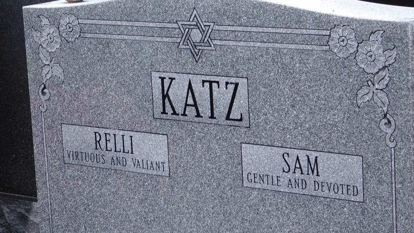 Relli & Sam Katz's monument at The Baron de Hirsch Cemetery