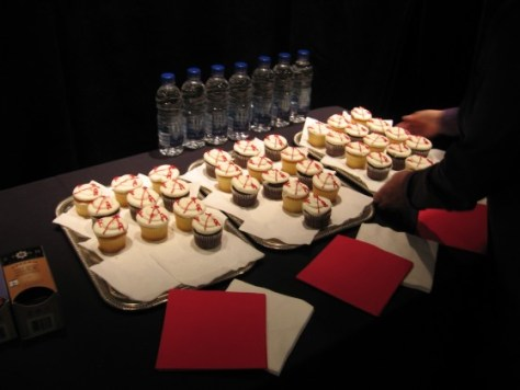 The cupcakes (and tea and bottled water) at the press conference for Festival TransAmériques.