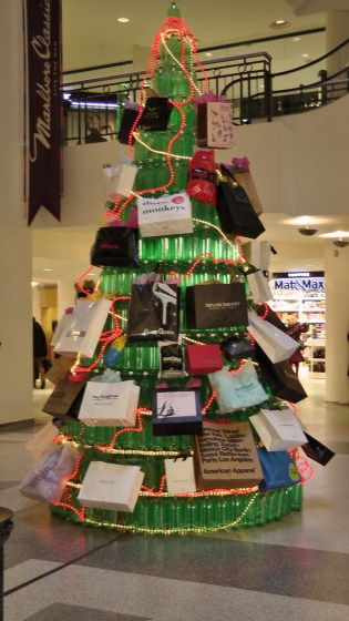 A  Christmas tree made out of recycled soda bottles.