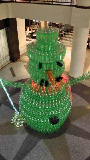 The giant snowman made out of recycled soda bottles seen from above.