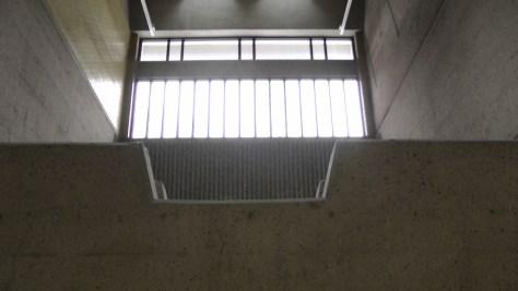 Windows inside the southern entrance to Métro Joliette.