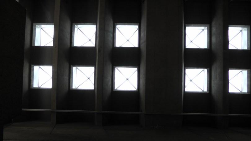 Looking up at ceiling in the Métro Joliette.