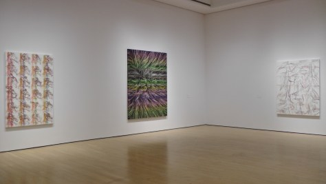 Installation shot of Ghada Amer exhibit at the Musée d'art contemporain de Montréal.