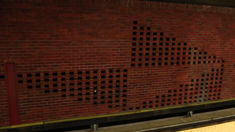 The ornamental brick work on the platform at the Métro Charlevoix