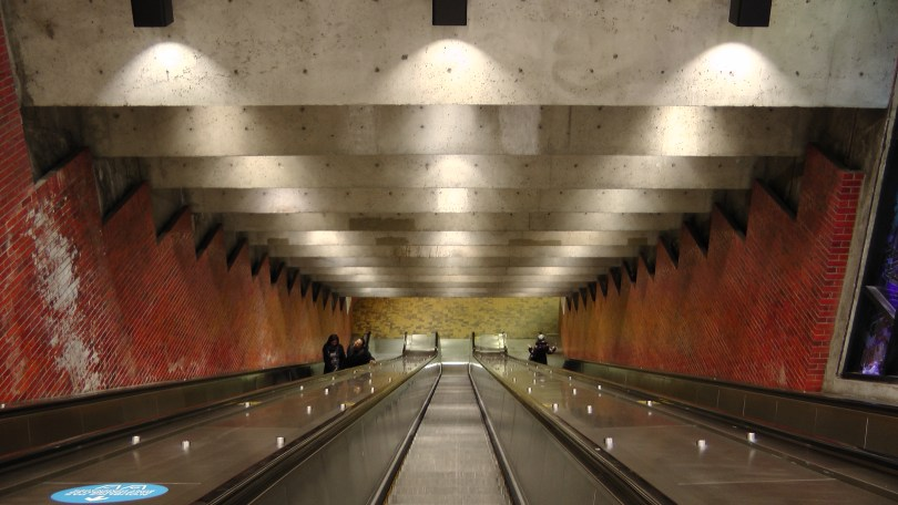 Looking down one of the escalators at the Métro Charlevoix