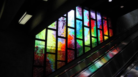 The stained glass at the Métro Charlevoix