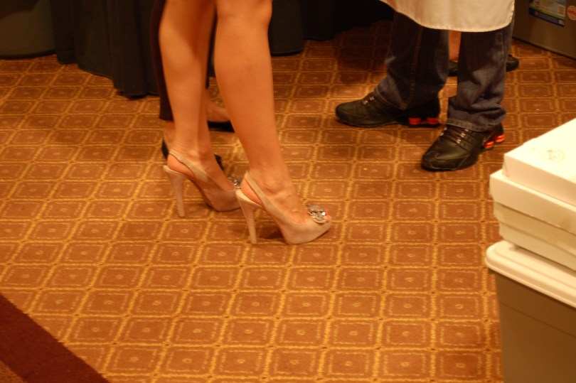 The shoes at the Table of Hope.