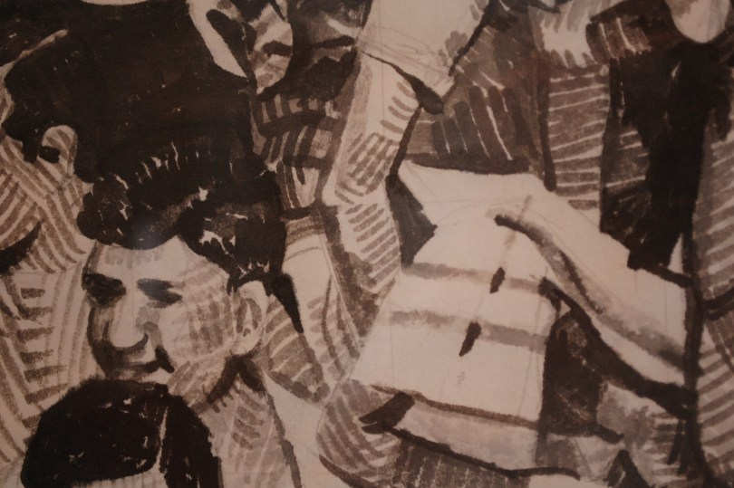Detail of Blue frame, 5 tone, ink crosshatch on Japanese paper by Alain James Martin at Pink Espace