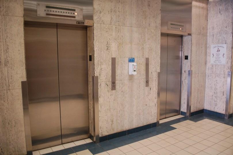 The elevators at 1001 de Mainsonneuve E