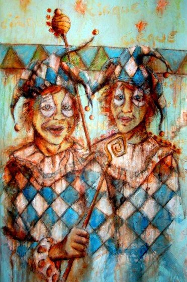 """La rigolade des frères jumeaux, Sébastien Gaudette, Acrylic on Canvas, 40"""" x 20"""", 2008"""