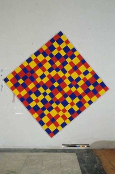 Yellow Red and Blue Continuum 5, Acrylic on Canvas,  9' x 9',  1998