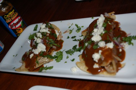 Chicken dobladitas with mole poblano from Restaurant Cartel