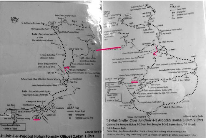 キャメロンハイランドトレッキングマップ