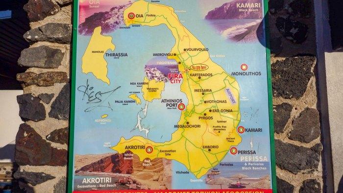 サントリーニ島略地図