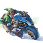 Link races to the finish line with the Master Cycle in Mario Kart 8
