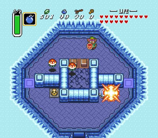 Step Five Place a Bomb next to the Crystal Switch, and quickly move up to the upper half of the room. This will trap you inside, but you can access the crumbling floor in the center.