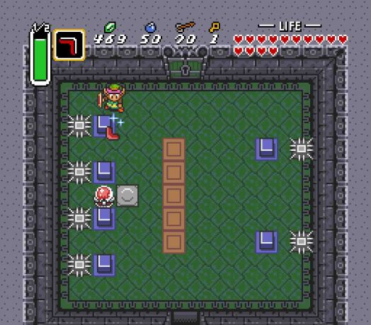 It's best to trip the Crystal Switch as far away from the Traps as you can.