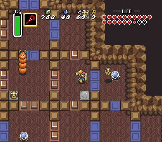 Step Two Head up and to the left until you can't move any further. Change the Crystal Switch to brown once you're past the last blue blocks.