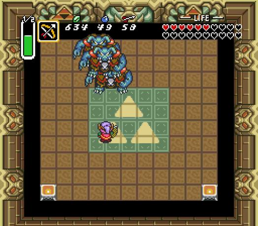 Step Three Unless you're incredibly lucky, you won't be able to tag Ganon before he moves. So in general, you'll need to wait for him to finish one teleportation cycle.