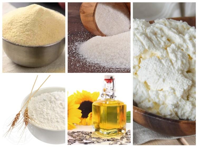 Інгредієнти для сирників з манкою