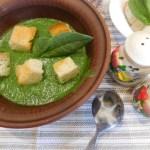 Суп-пюре зі шпинату і стрілками часнику