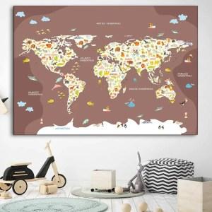 Vaikiškas žemelapis ant sienos violetinis, vaikiški žemėlapiai,vaikiškas pasaulio žemėlapis vaikams.