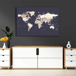 zemelapiai ant drobes, zemelapaiantdrobes, žemėlapis su smeigtukais, pasaulio žemėlapiai ant sienos6