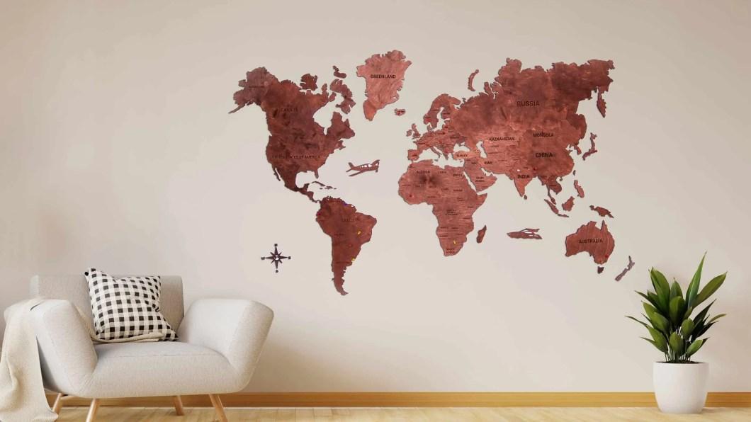 Medinis žemėlapis, Mediniai pasaulio žemėlapiai, zemelapis ant sienos, sienu dekoracija,