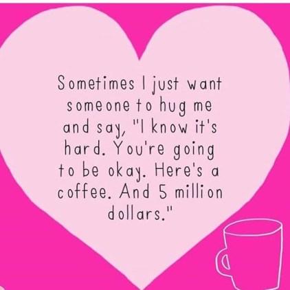 Hug and coffee