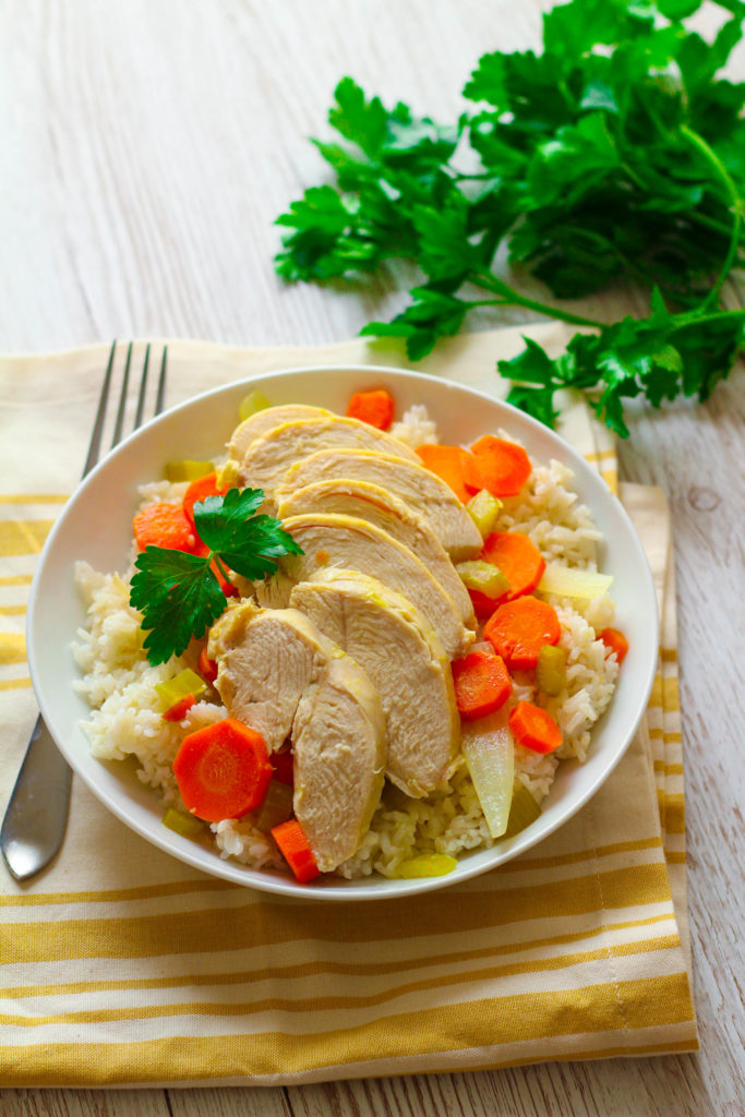 Poached Chicken with Steamed Rice  Veggies  Zen  Spice