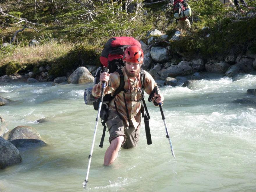 Bill Winters braves a glacial river in Patagonia, February 2013
