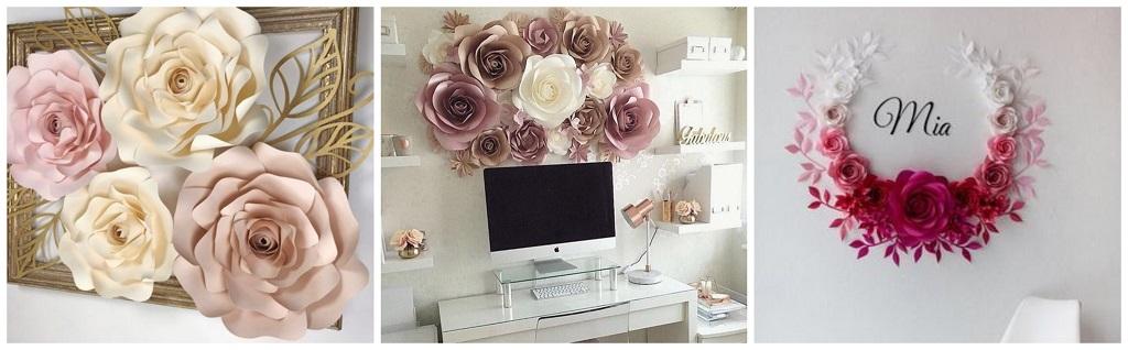 papirnato cvijeće na zidu
