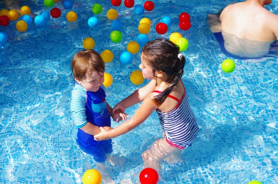 Baby fun at the kids club pool