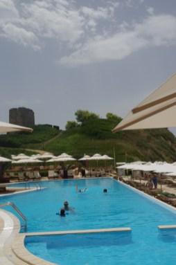 Sani beach pool - Greece with kids
